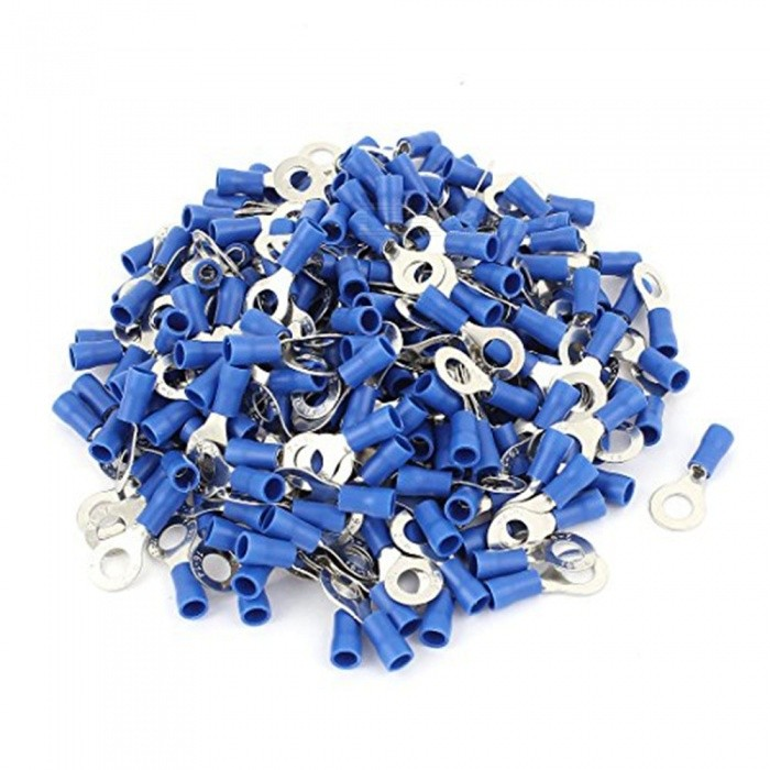 """BTOOMET RV2-6 Pre Insulated Ring Terminals with 1000 Piece for 1/4"""" Stud and AWG 16-14 Wire, Blue"""